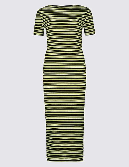 Cotton Rich Striped Bodycon Midi Dress