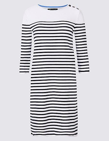 Cotton Rich Striped Tunic Midi Dress