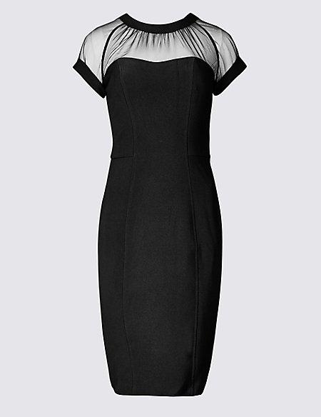 PETITE Mesh Panel Bodycon Midi Dress