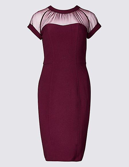 Mesh Short Sleeve Bodycon Dress