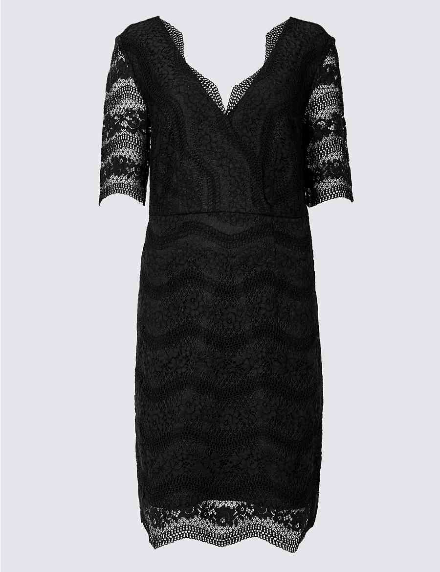 Lace Half Sleeve Bodycon Dress  e21216318