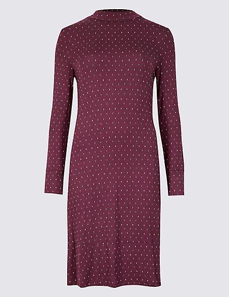 Printed Long Sleeve Swing Dress