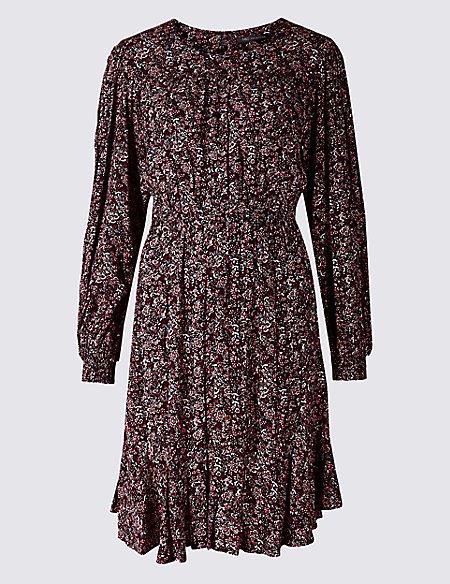 Floral Print Long Sleeve Skater Dress