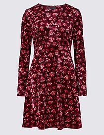 Floral Print Velvet Long Sleeve Tea Dress