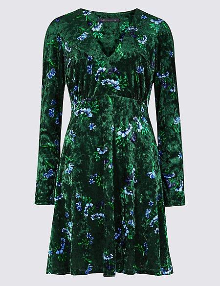 Floral Print Velvet Long Sleeve Tea Dress