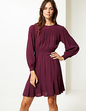 Ruffle Hem Long Sleeve Skater Dress