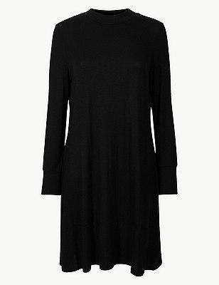 PETITE Jersey Long Sleeve Swing Dress