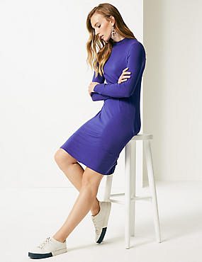 Jersey Long Sleeve Swing Dress