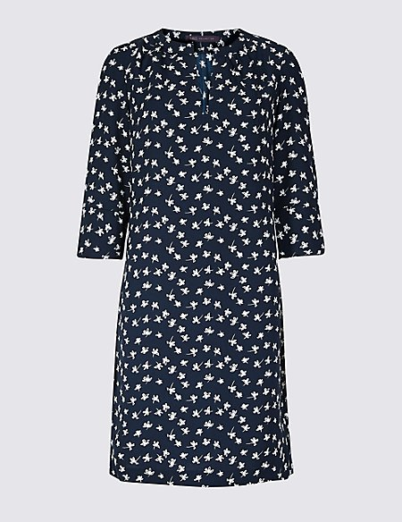 PETITE Floral Print 3/4 Sleeve Shift Dress