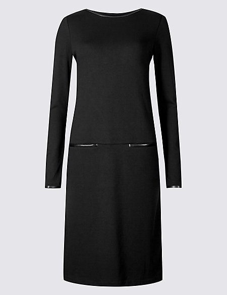 Ponte Long Sleeve Shift Dress