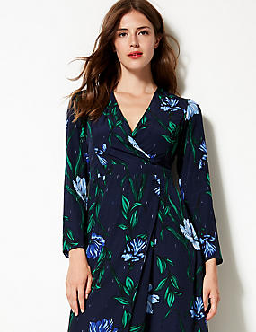 Floral Print Long Sleeve Wrap Midi Dress