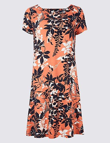 Floral Print Short Sleeve Swing Dress