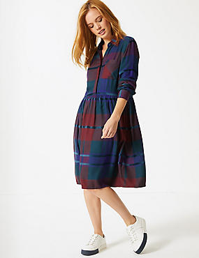PETITE Checked Long Sleeve Drop Waist Dress