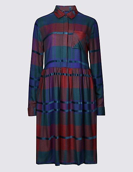 Checked Long Sleeve Drop Waist Dress