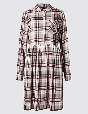 PETITE Checked Long Sleeve Drop Waist Dress