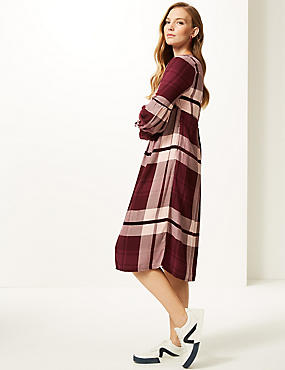 Checked Longline Skater Midi Dress