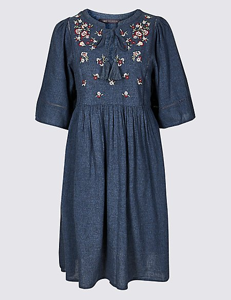 Embroidered 3/4 Sleeve Skater Midi Dress