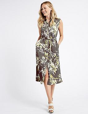Floral Print Spilt Hem Shirt Midi Dress