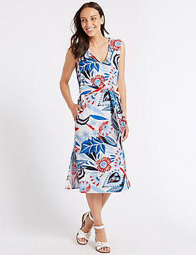 Linen Blend Printed Tunic Midi Dress
