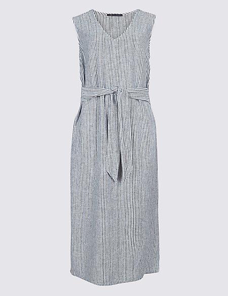 Linen Blend Striped Tunic Midi Dress