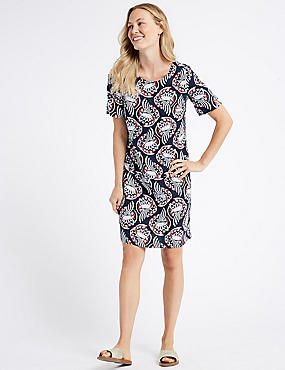 Linen Printed Short Sleeve Tunic Dress