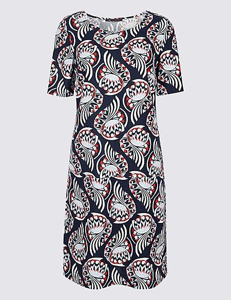 Linen Printed Short Sleeve Tunic Dress