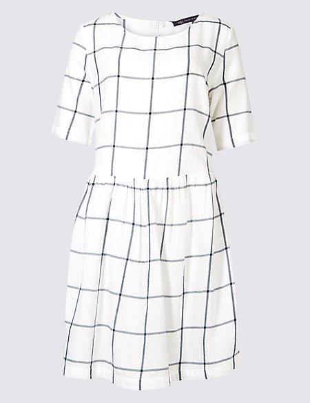 Pure Cotton Checked Drop Waist Dress
