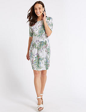 Pure Cotton Floral Print Swing Dress