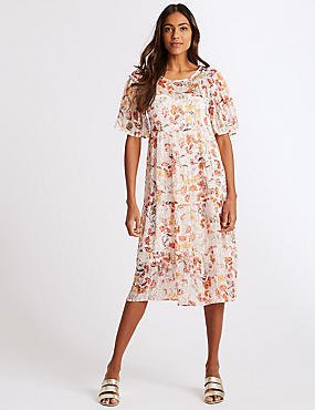Floral Print Half Sleeve Skater Midi Dress