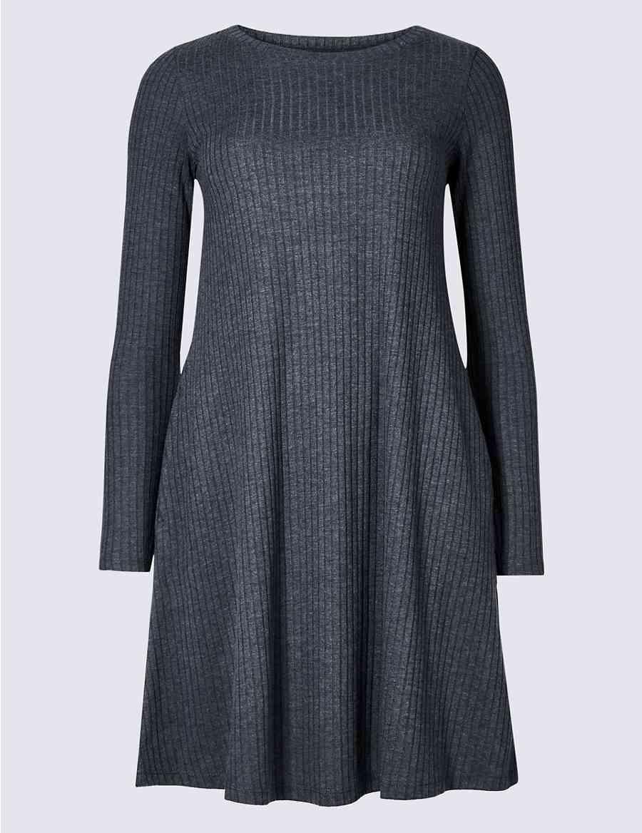 3b728afac536 Textured Long Sleeve Swing Dress