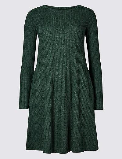 ec7e0df8533 Textured Long Sleeve Swing Dress