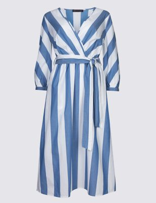 Petite Pure Cotton Striped Wrap Midi Dress by Marks & Spencer