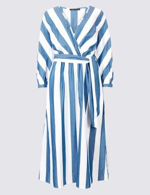 M&S Collection Pure Cotton Striped Midi Dress
