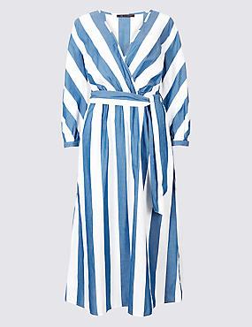 Pure Cotton Striped Midi Dress