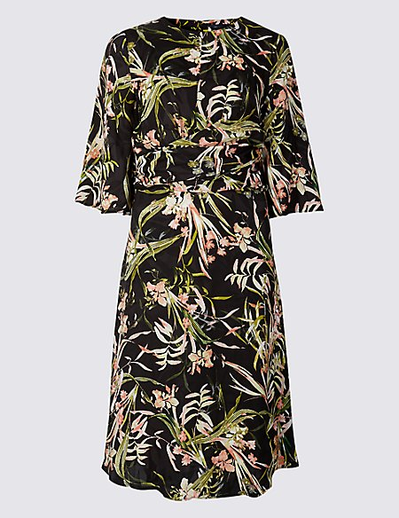PETITE Floral Print Fit & Flare Midi Dress