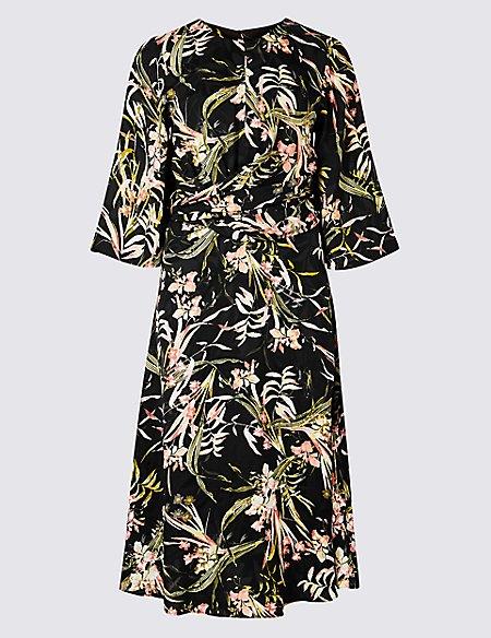 Floral Jacquard 3/4 Sleeve Skater Midi Dress