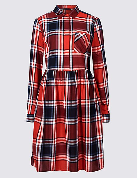 Pure Cotton Fuller Bust Checked Dress