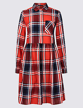 PETITE Pure Cotton Checked Drop Waist Dress