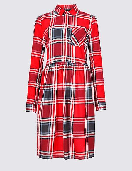 Pure Cotton Checked Dress