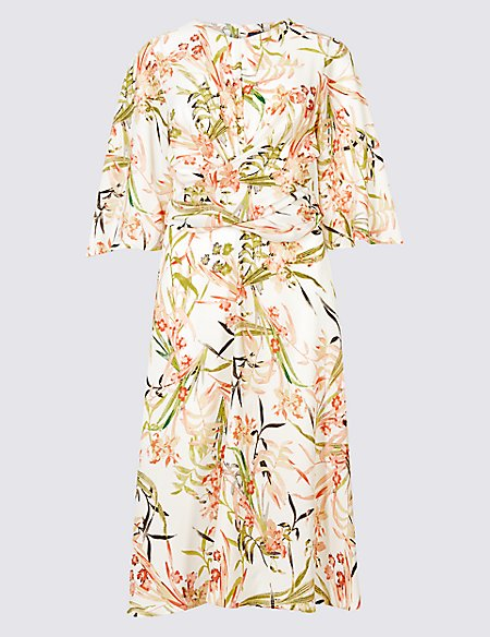 PETITE Floral Print Tunic Midi Dress