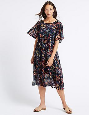 Floral Print Half Sleeve Skater Midi Dress