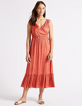 Satin Tiered Slip Midi Dress