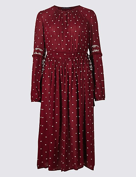 Spotted Long Sleeve Swing Midi Dress