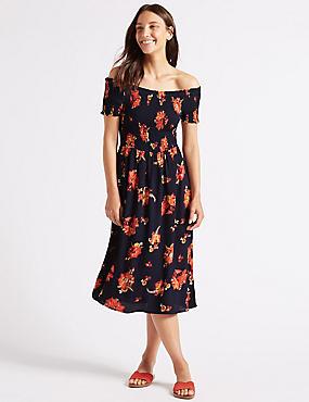 Floral Print Short Sleeve Bardot Midi Dress