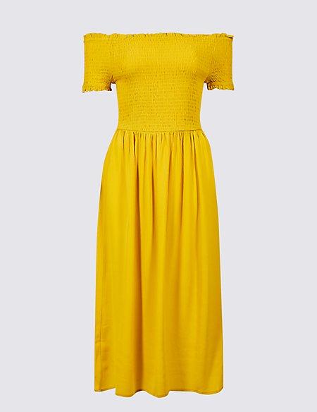 Short Sleeve Bardot Midi Dress