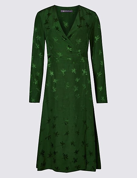 Embroidered Long Sleeve Wrap Midi Dress