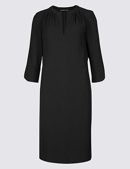 Satin Fuller Bust 3/4 Sleeve Shift Dress