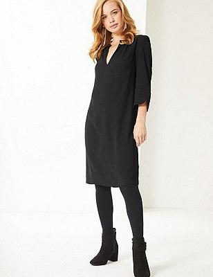 PETITE Satin 3/4 Sleeve Shift Dress