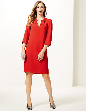 Satin 3/4 Sleeve Shift Dress