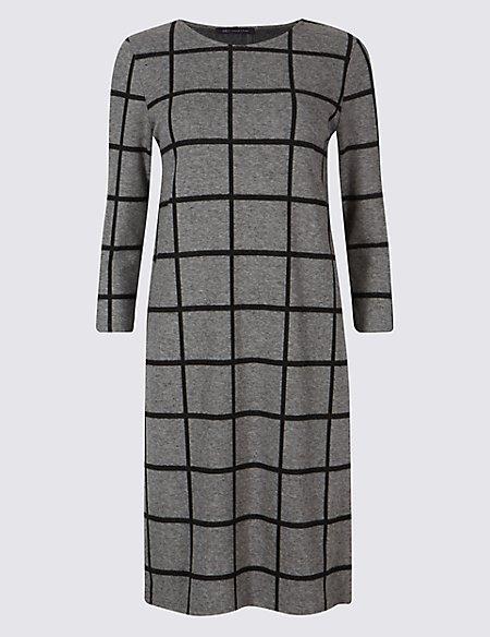 Checked 3/4 Sleeve Tunic Dress